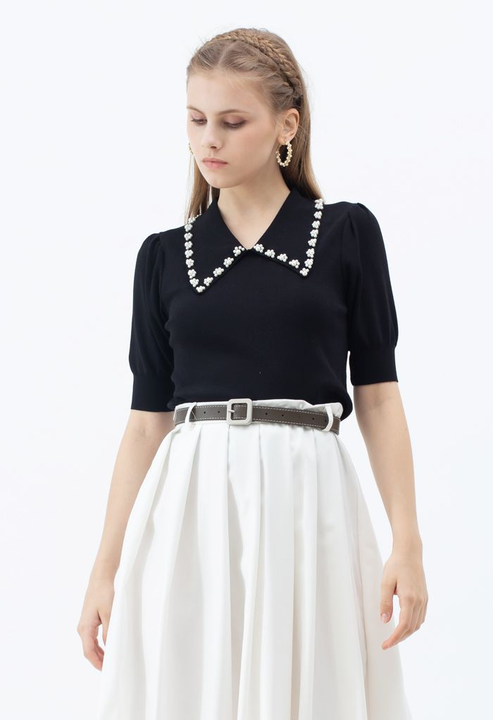 Pearly Collar Puff Sleeves Knit Top in Black