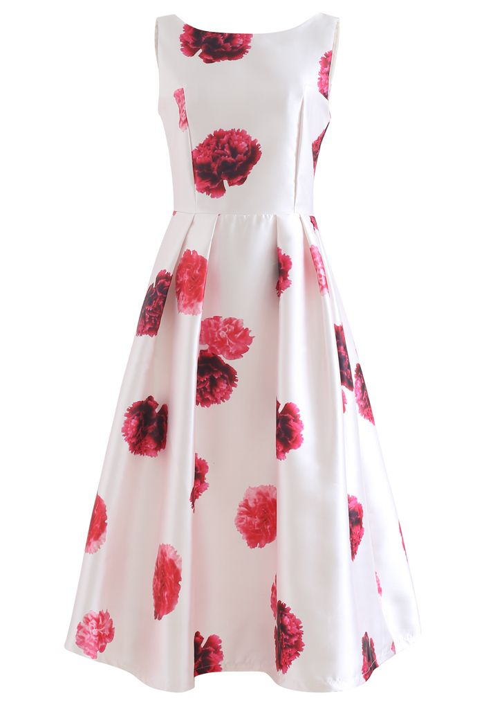 Carnation Printed Pleated Sleeveless Dress
