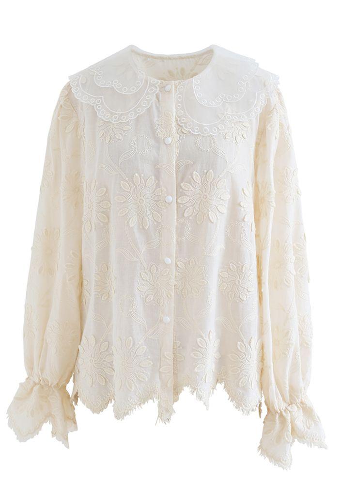 Organza Neck Delicate Embroidered Shirt in Cream