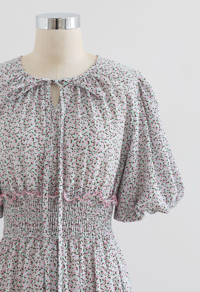 Ruffle Detail Ditsy Floral Shirred Dress in Pink