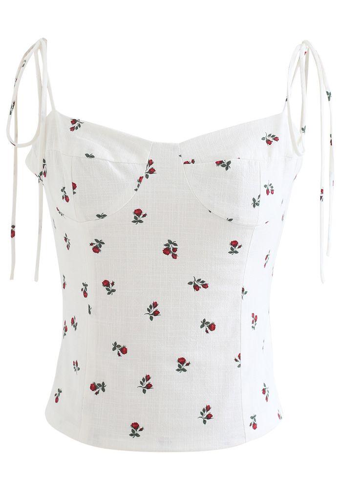 Rose Sweetheart Tie Straps Crop Cami Top