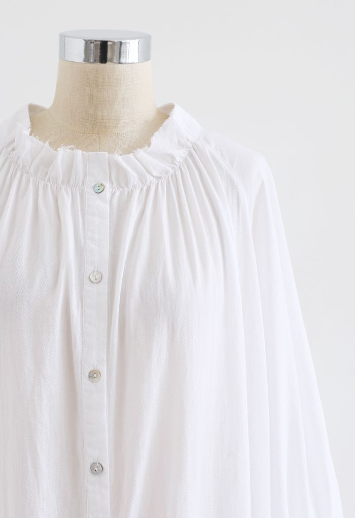 Breezy Bubble Sleeve Longline Shirt Dress in White