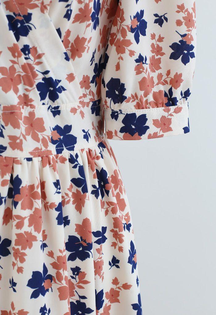 Bicolored Floral Printed Wrap Frilling Dress