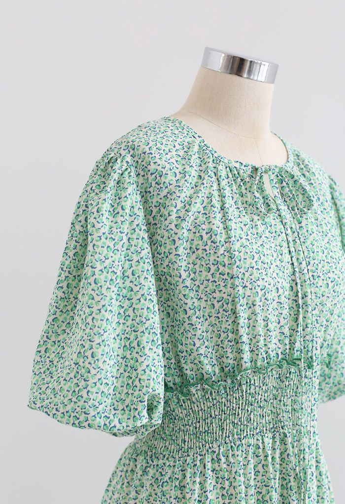 Ruffle Detail Ditsy Floral Shirred Dress in Green