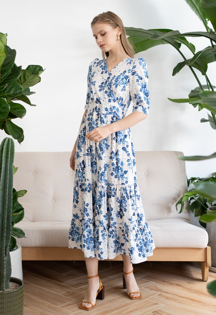 Blue Floral Printed Wrap Frilling Dress