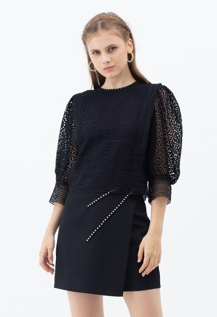 Full Floral Cutwork Crochet Top in Black
