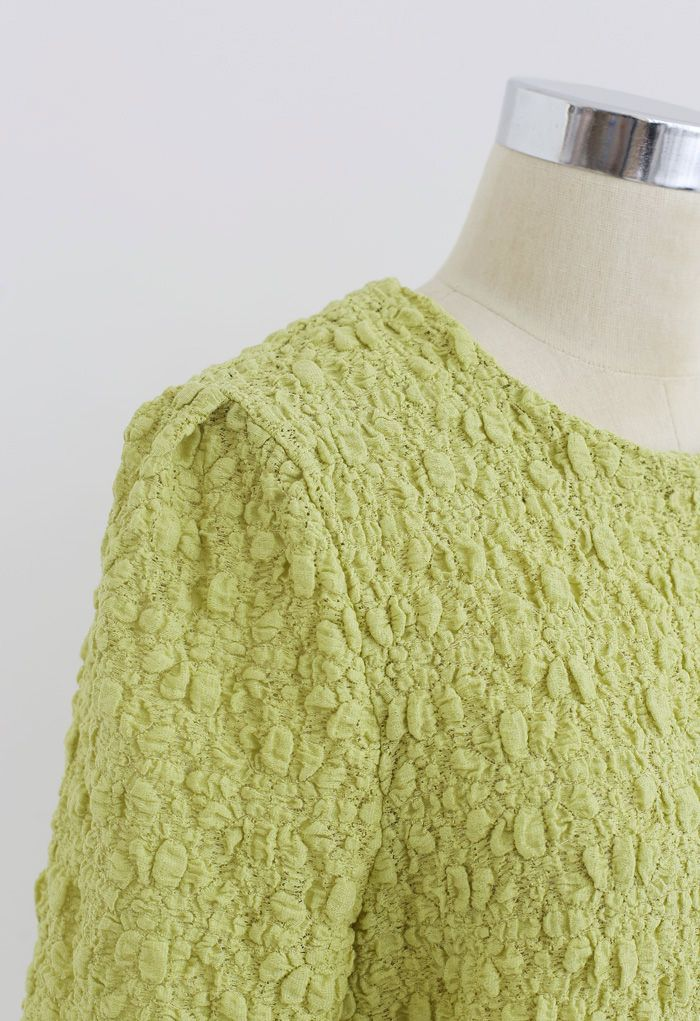 Full Embossed Lace Top in Moss Green