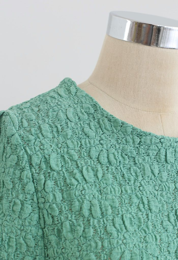 Full Embossed Lace Top in Seafoam