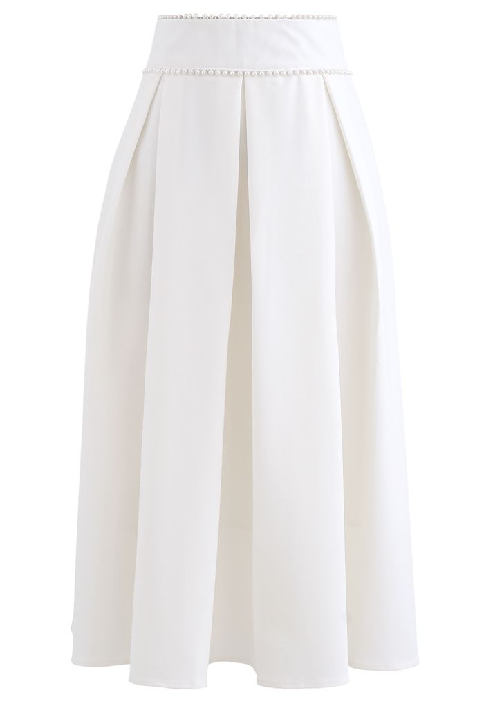 Pearly Waist Pleated Midi Skirt in White