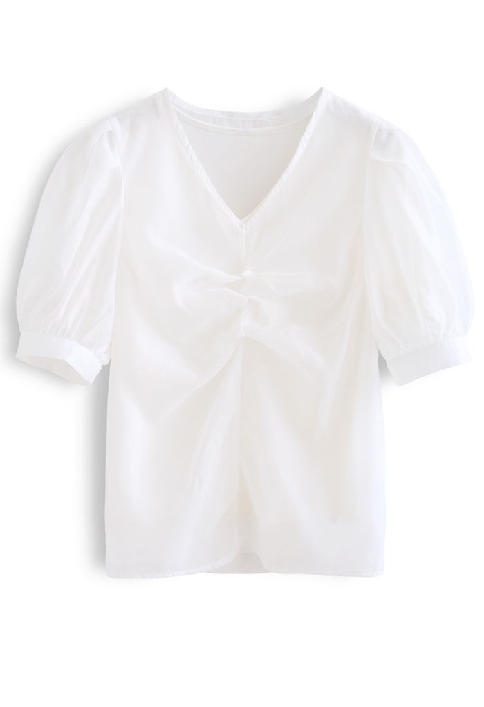 V-Neck Ruched Organza Twinset Top in White