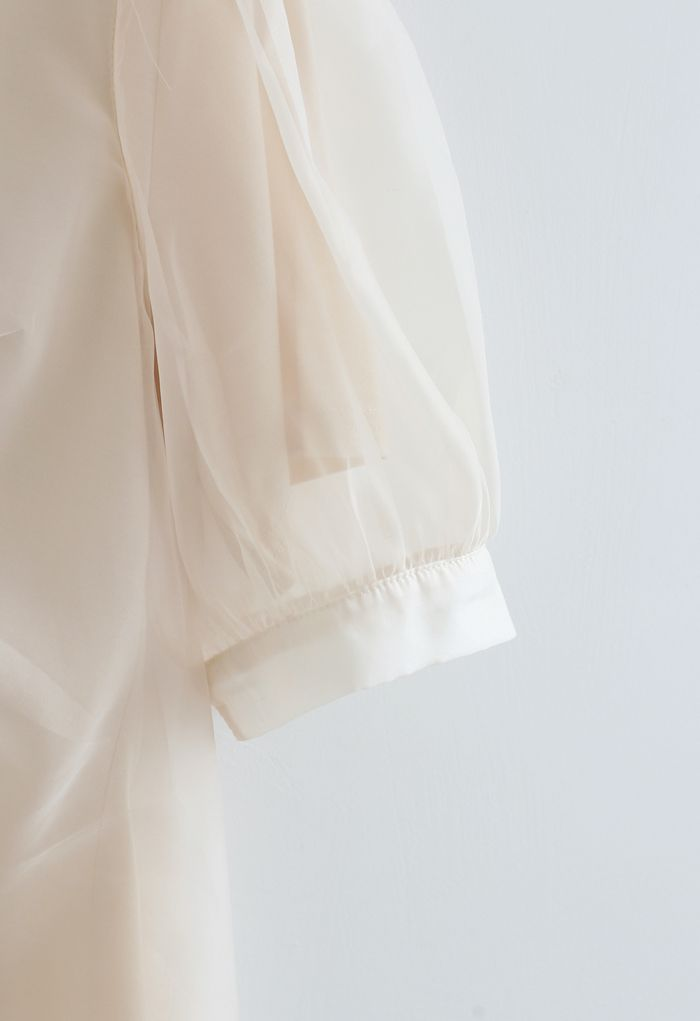 V-Neck Ruched Organza Twinset Top in Cream