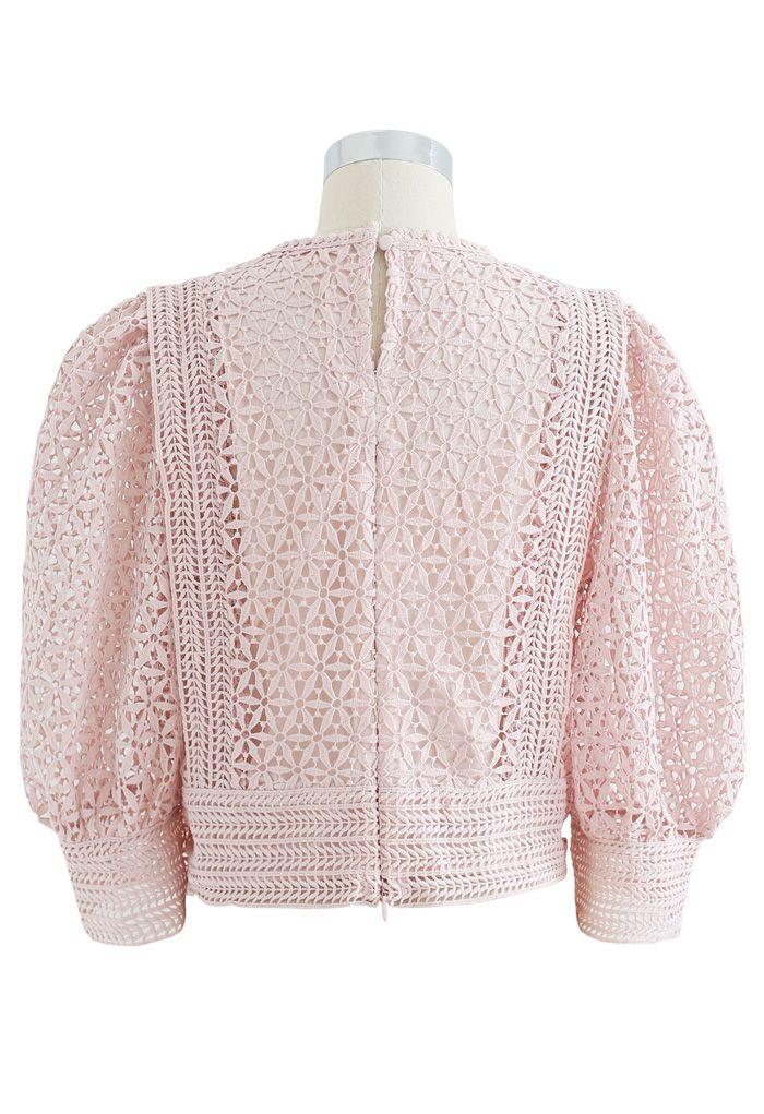Full Floral Cutwork Crochet Top in Dusty Pink