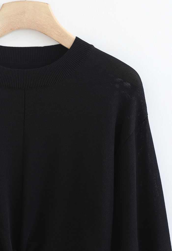 Twist Waist Cropped Rib Knit Top in Black