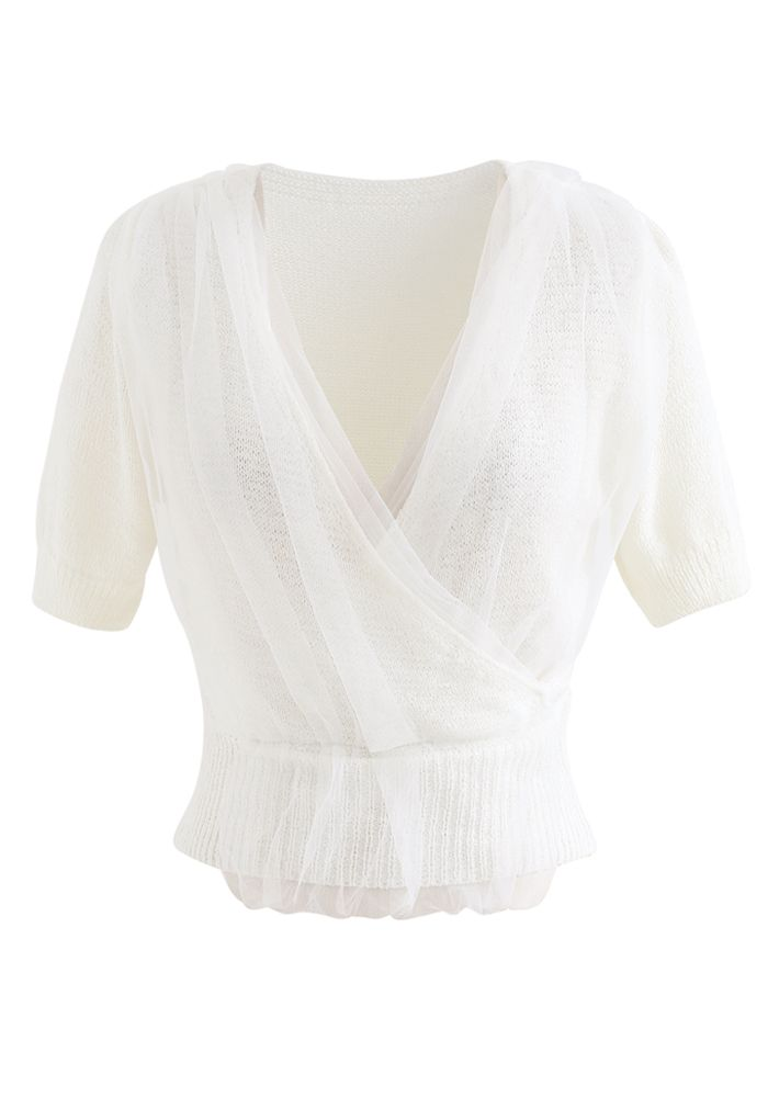 Mesh Overlay Wrap Crop Knit Top in White