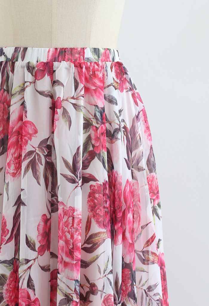 Romantic Moment Peony Print Maxi Skirt in White