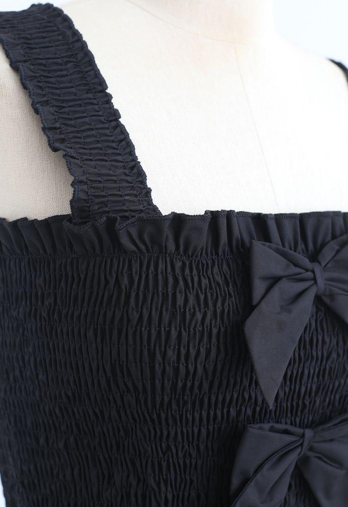Bowknot Shirred Ruffle Crop Tank Top in Black