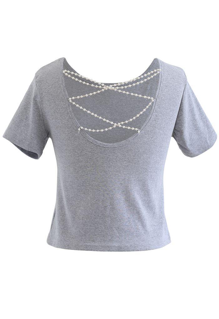 Crisscross Pearl Chain Crop T-Shirt in Grey