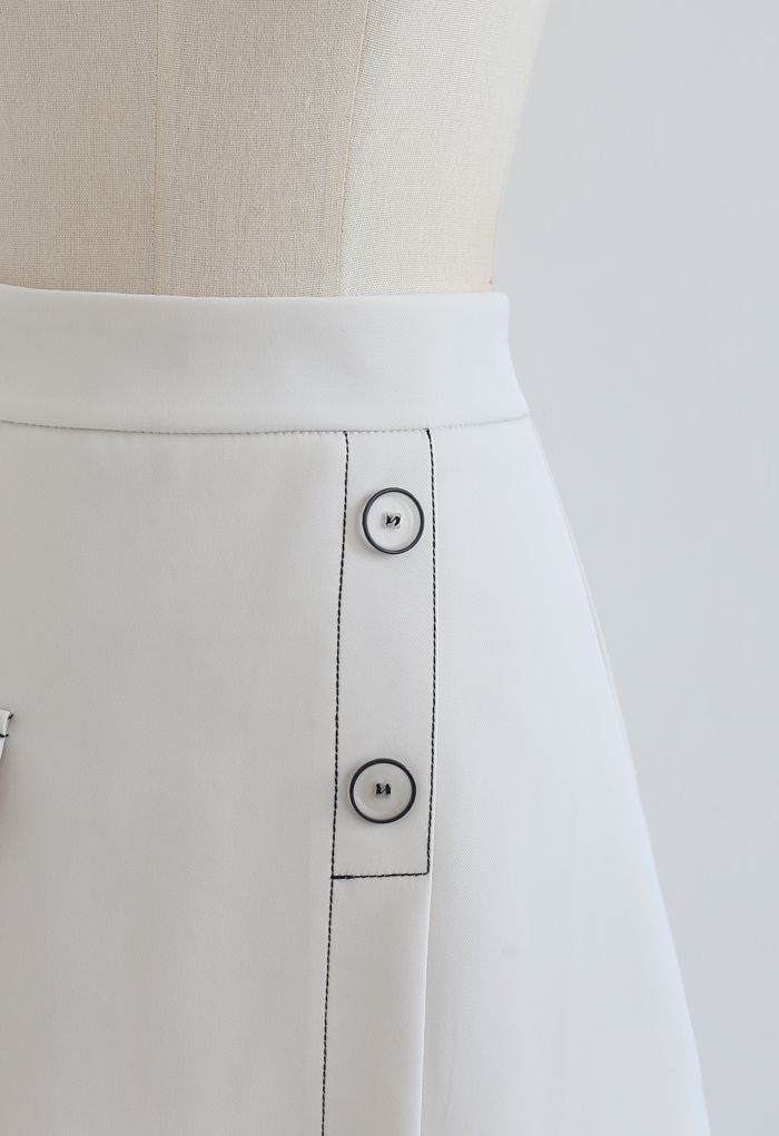 Contrast Line Buttoned Flap Mini Skirt in Ivory