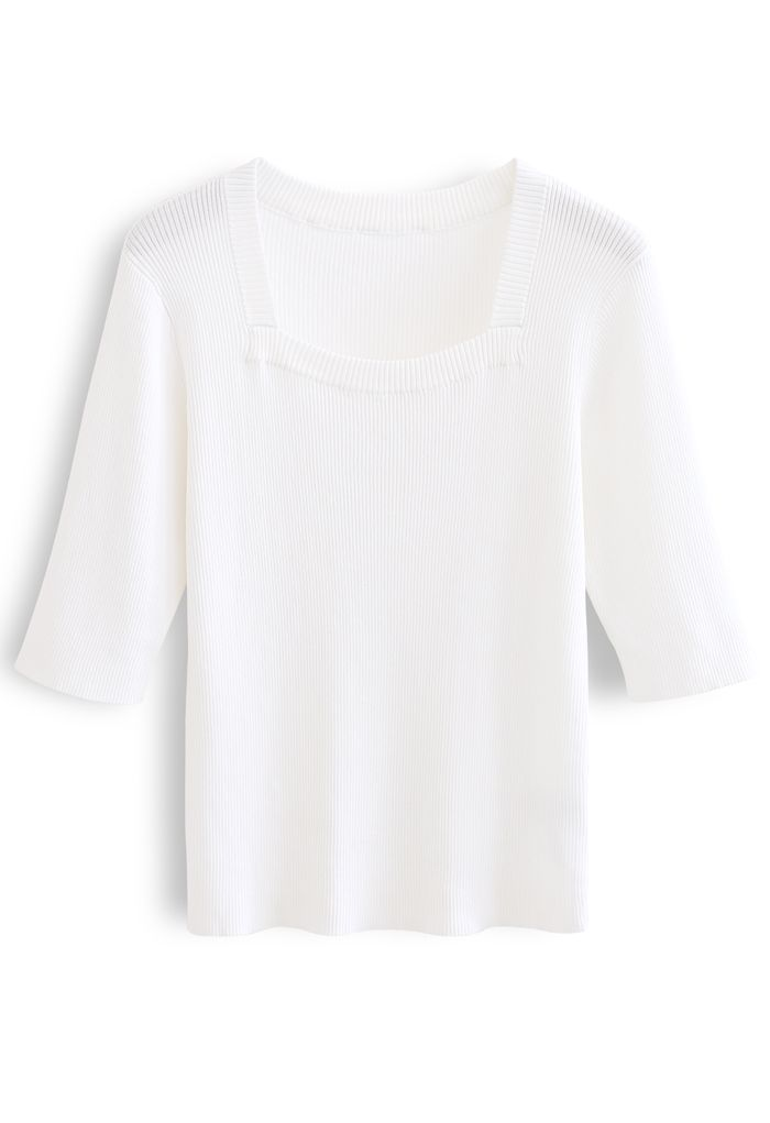 Mid-Length Sleeves Square Neck Knit Top in White