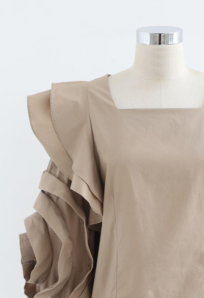 Rosey Bubble Sleeve Crop Top in Tan