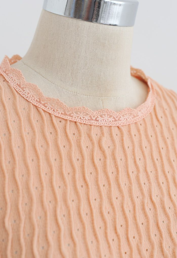 Full Ripple Eyelet Top in Apricot