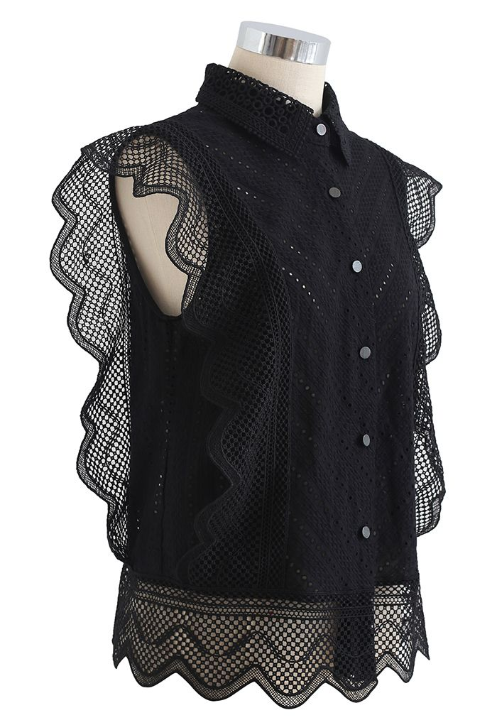 Wavy Lace Eyelet Embroidered Sleeveless Shirt in Black