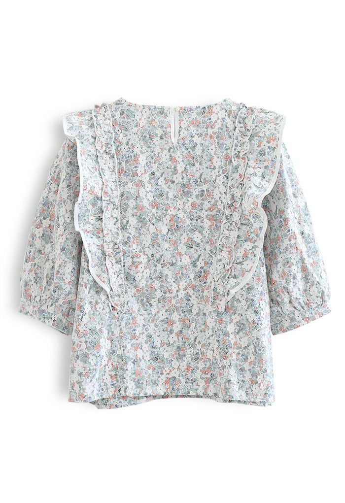 Ruffle Floret Lace Top in Green