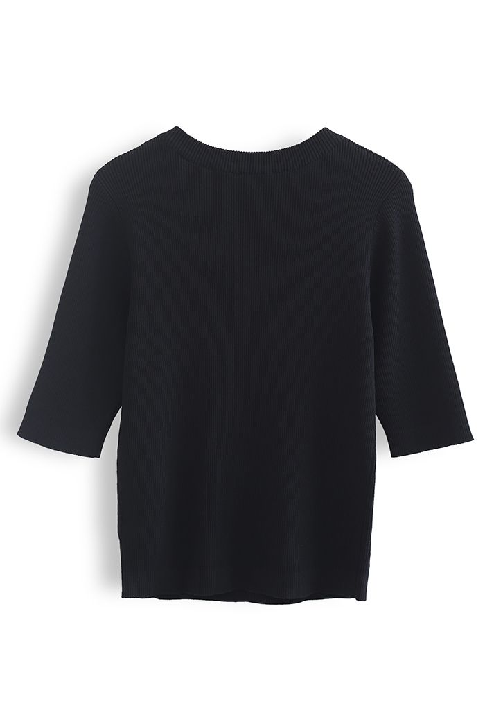 Mid-Length Sleeves Square Neck Knit Top in Black