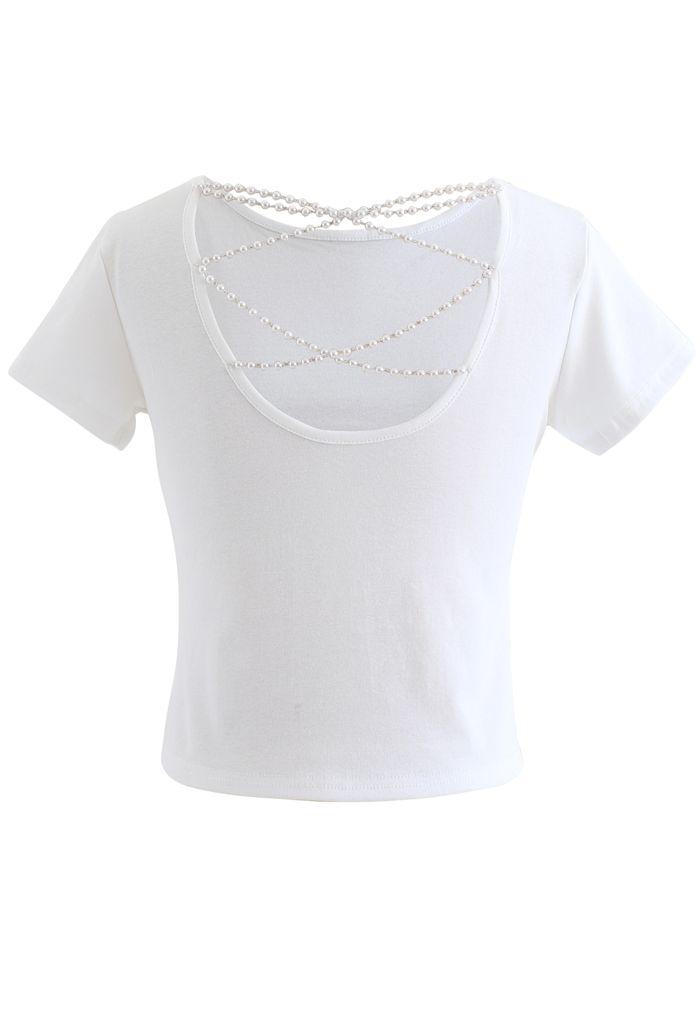 Crisscross Pearl Chain Crop T-Shirt in White