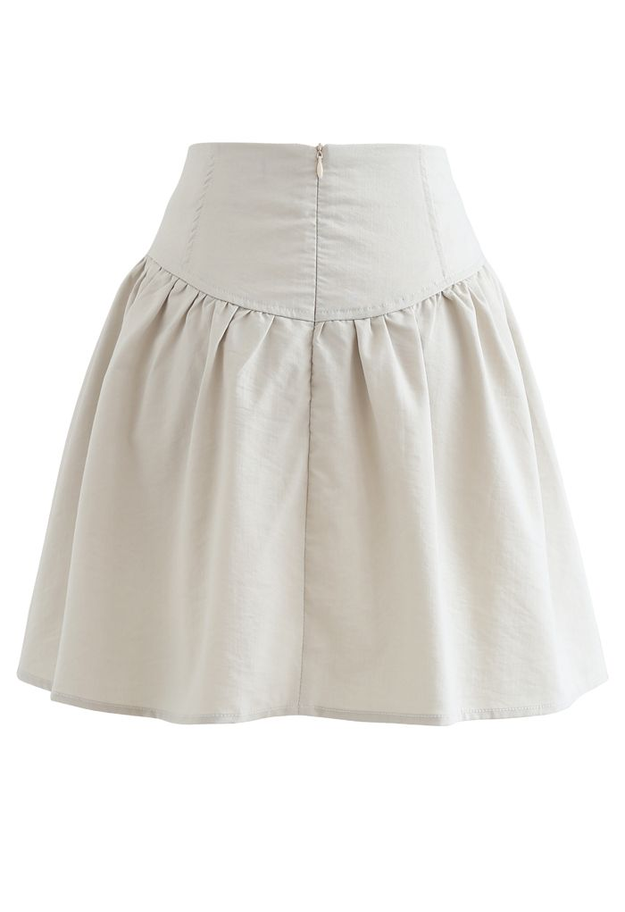 Button Trim High-Waisted Mini Skirt in Ivory