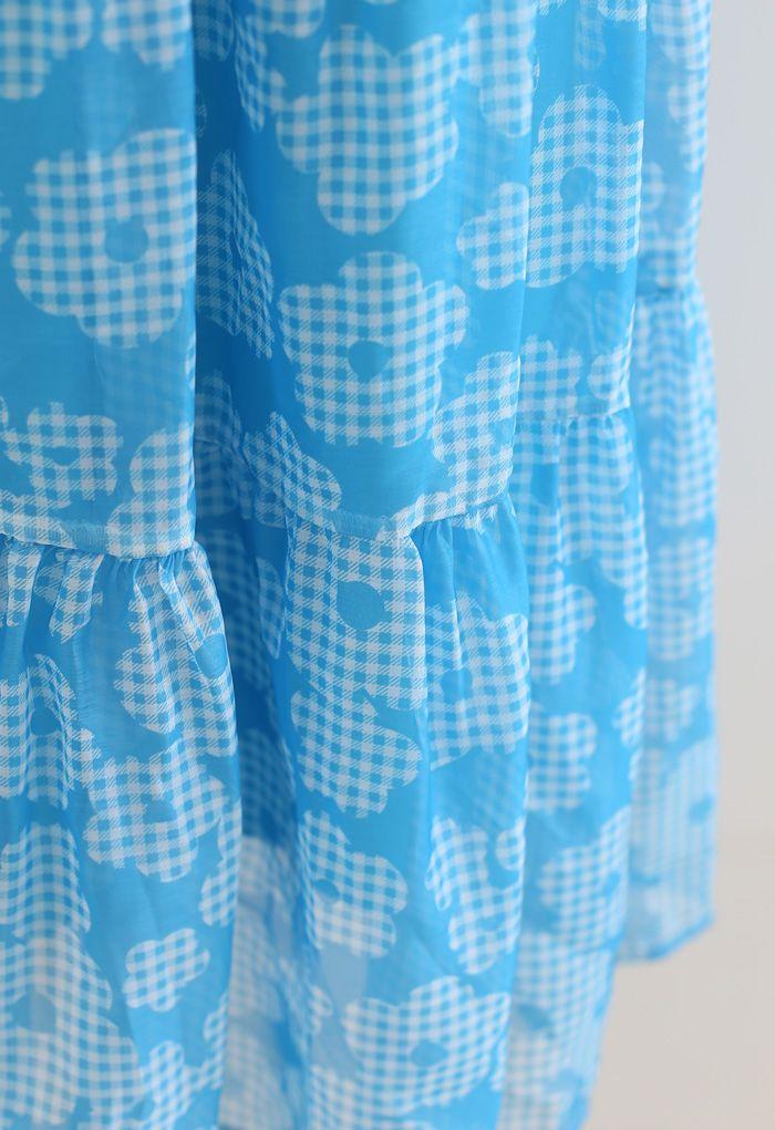 Gingham Flower Frilling Organza Skirt