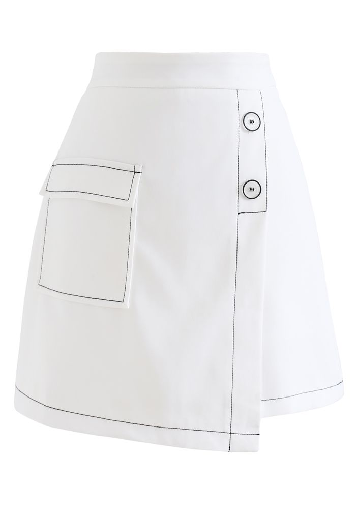 Contrast Line Buttoned Flap Mini Skirt in White
