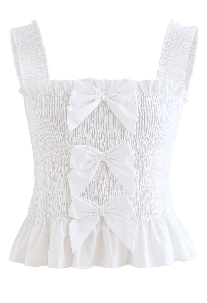 Bowknot Shirred Ruffle Crop Tank Top in White
