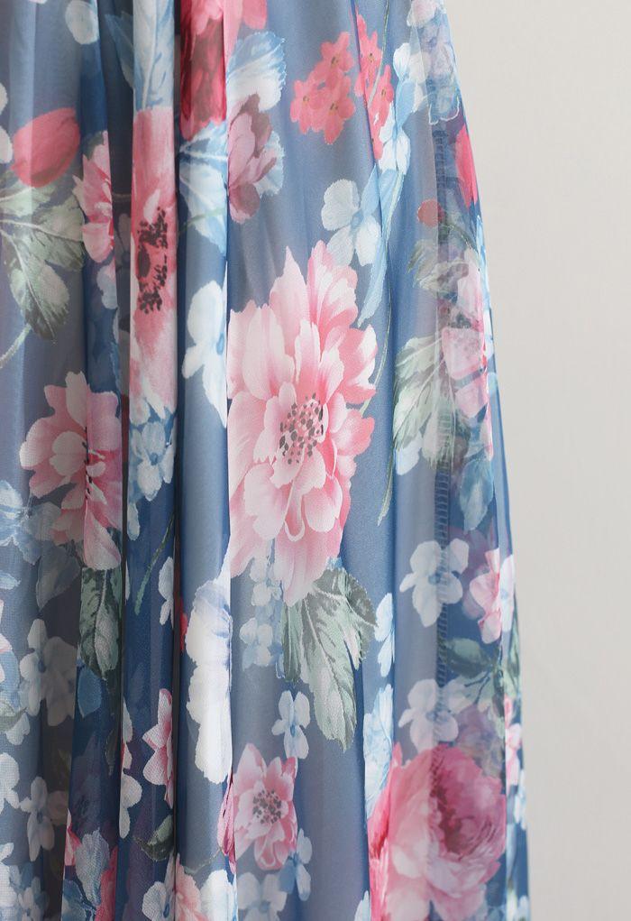 Romantic Moment Peony Print Maxi Skirt in Navy