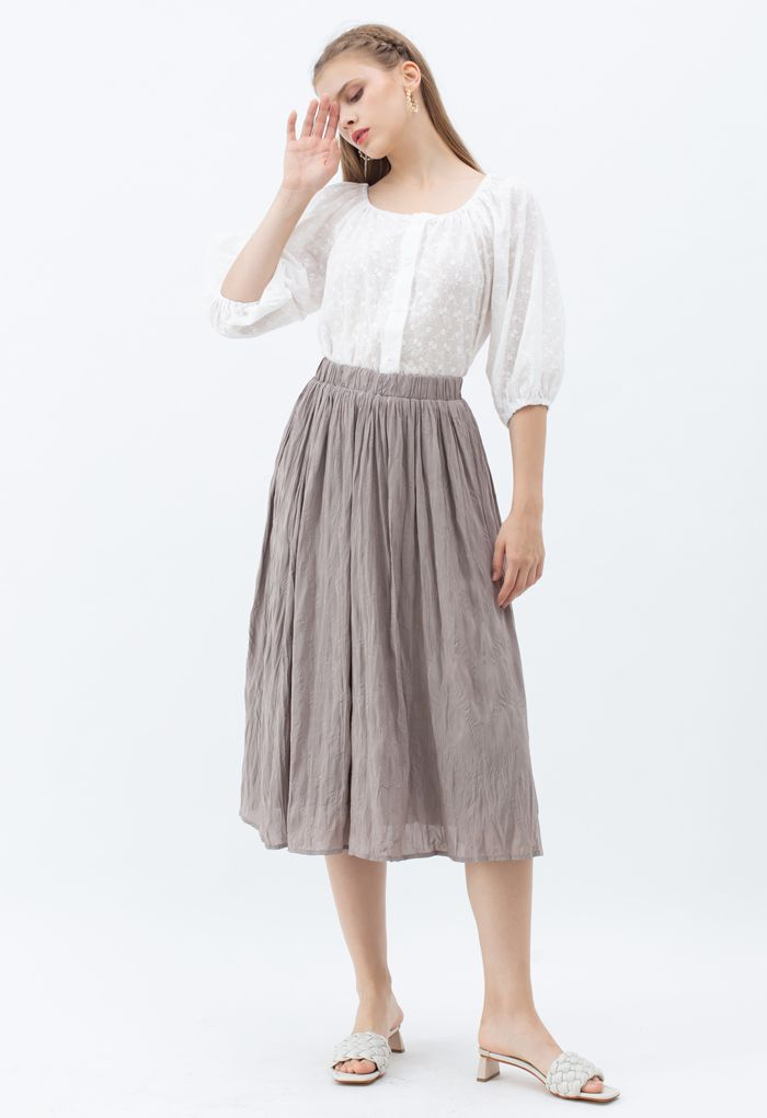 Puff Sleeves Embroidery Buttoned Cotton Top