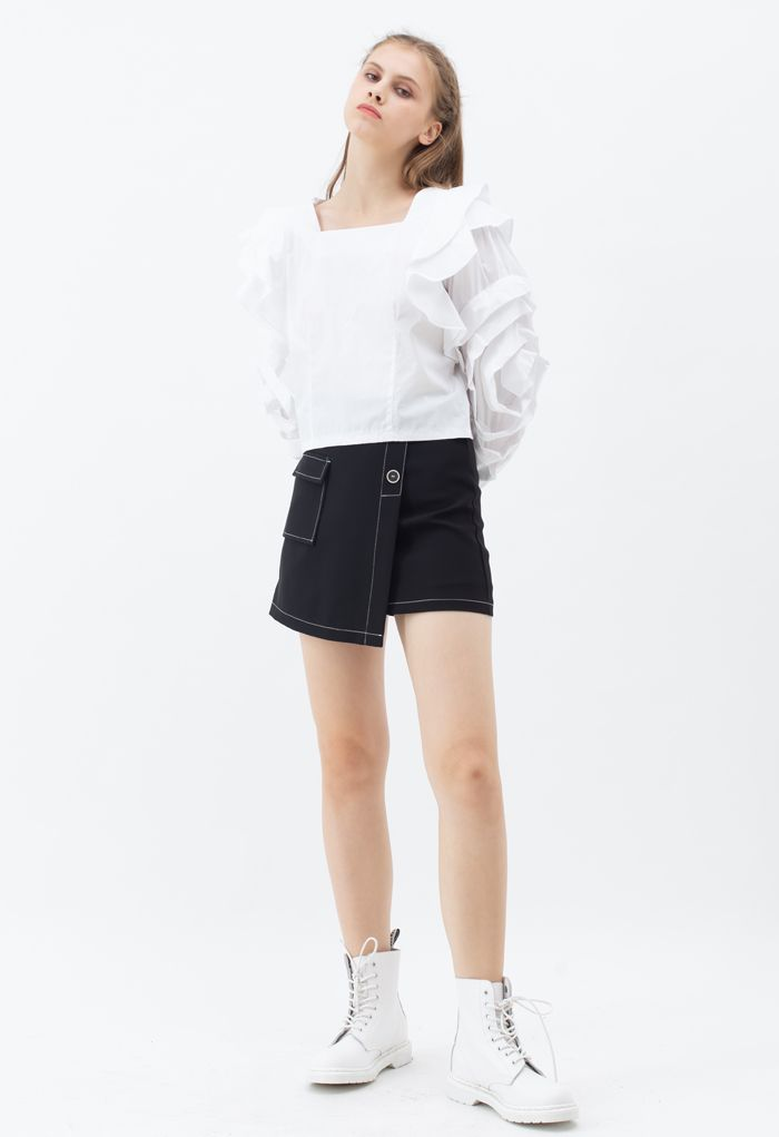 Rosey Bubble Sleeve Crop Top in White