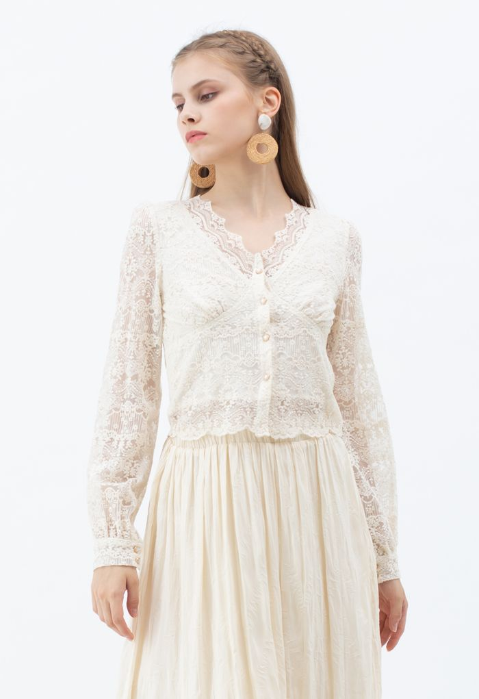 Full of Embroidery Button Down V-Neck Top