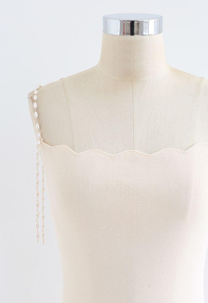 Pearl Straps Bodycon Knit Cami Dress in Cream