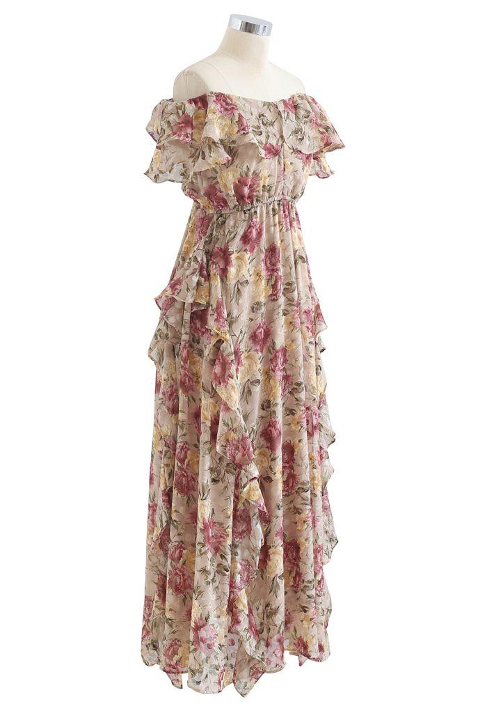 Floral Asymmetric Ruffle Off-Shoulder Maxi Dress