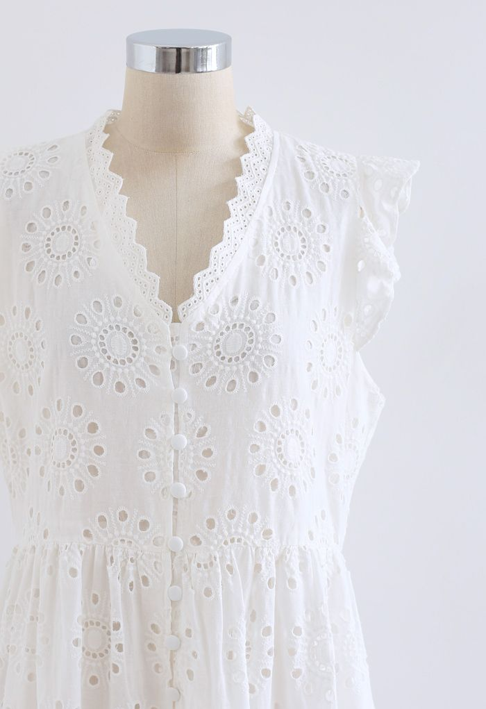 Allover Eyelet Embroidery Buttoned Sleeveless Dress in White