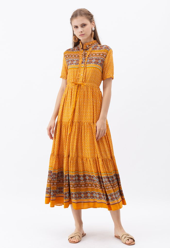 Drawstring Waist Floral Buttoned Boho Maxi Dress in Orange