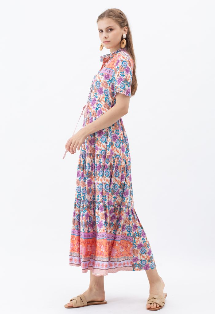 Drawstring Waist Floral Buttoned Boho Maxi Dress in Lilac