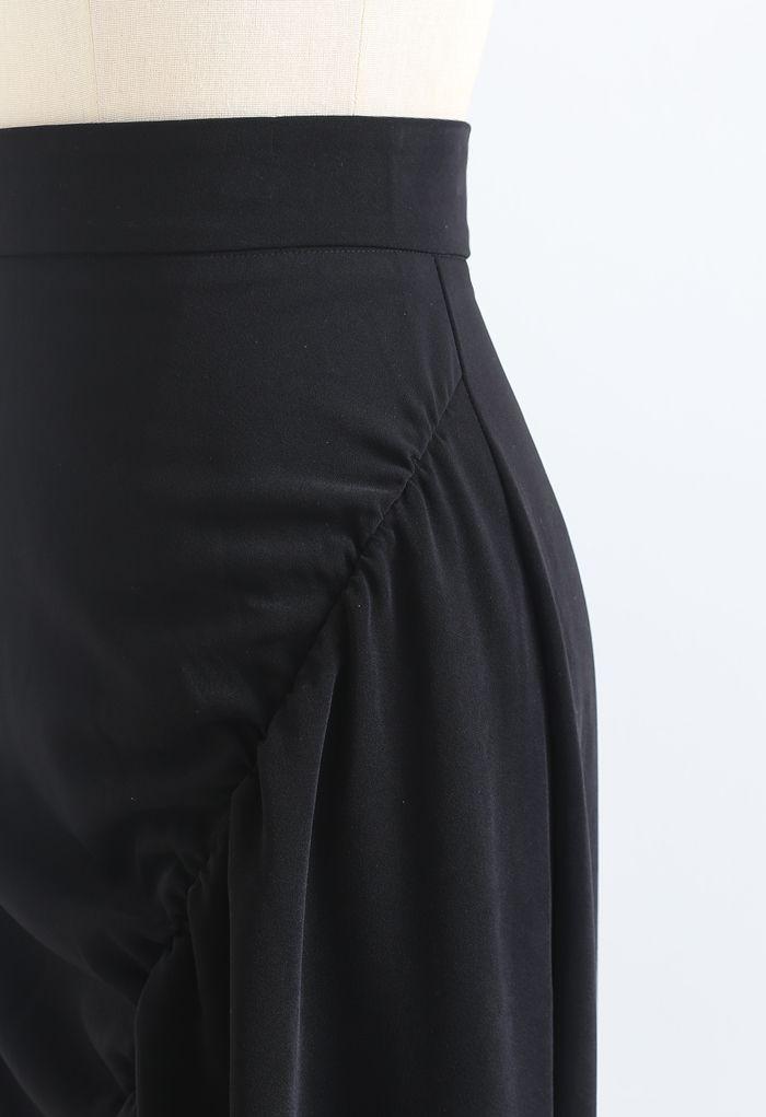 Asymmetric Cutout Hem Ruched Midi Skirt