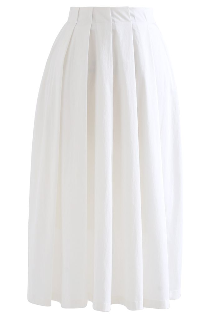 Cotton A-Line Pleated Midi Skirt in White