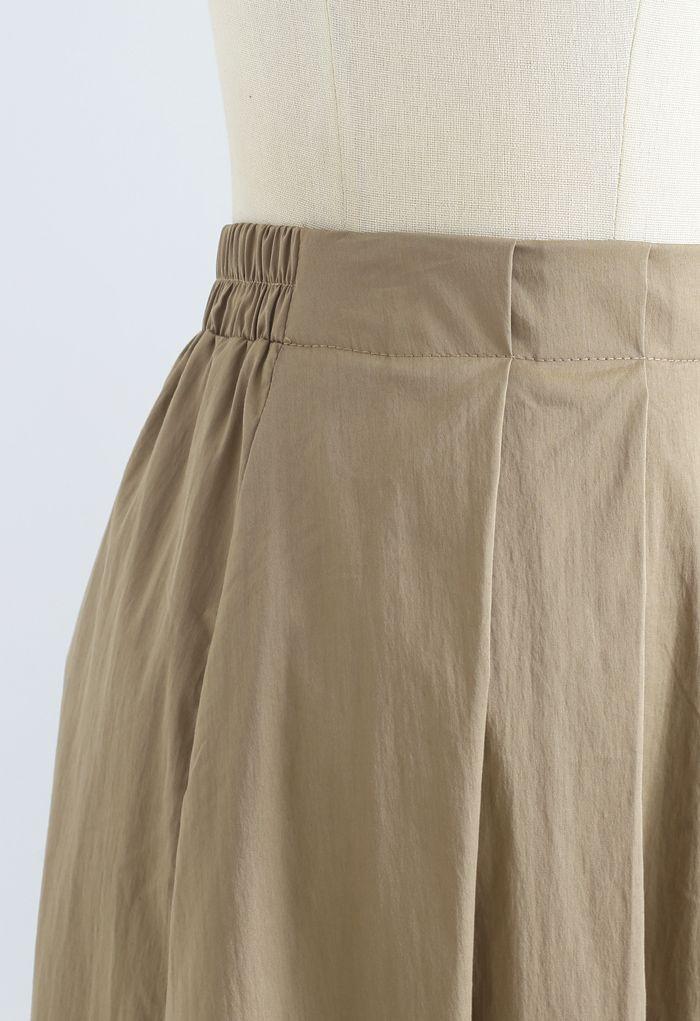 Cotton A-Line Pleated Midi Skirt in Khaki