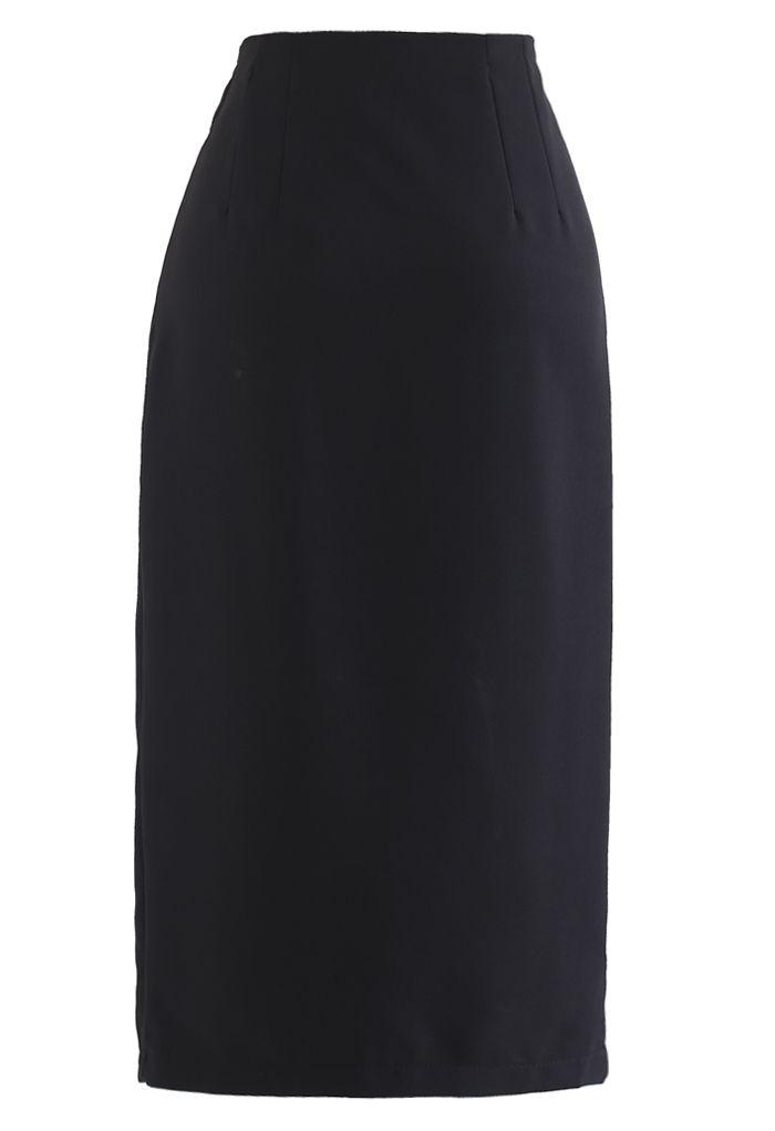 Tie Waist Front Split Pencil Skirt in Black