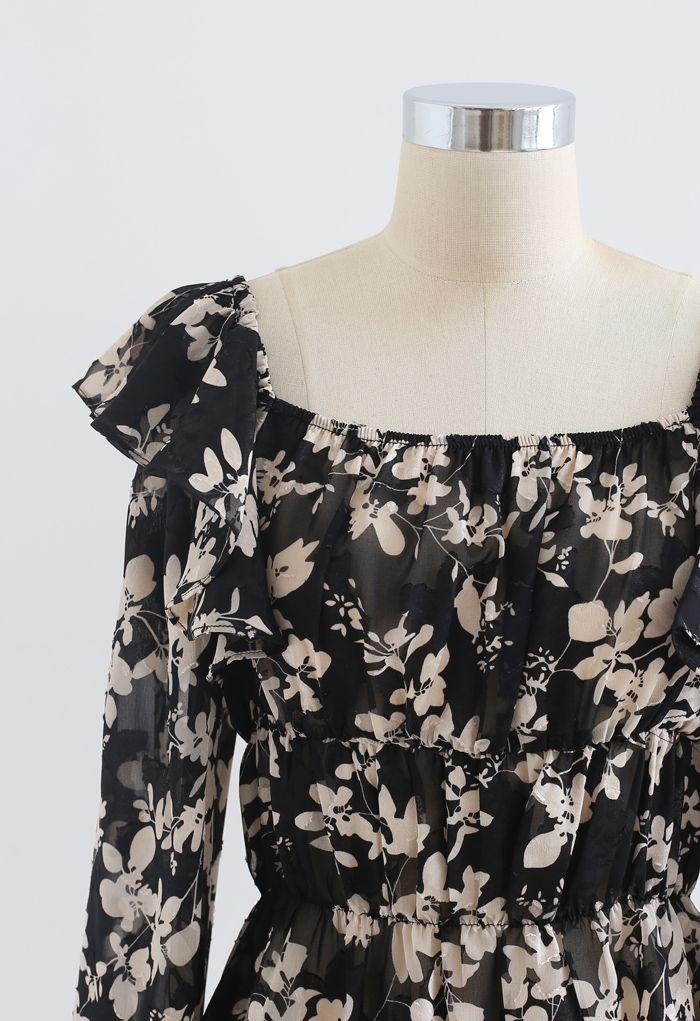 Leaves Printed Jacquard Ruffle Chiffon Top in Black
