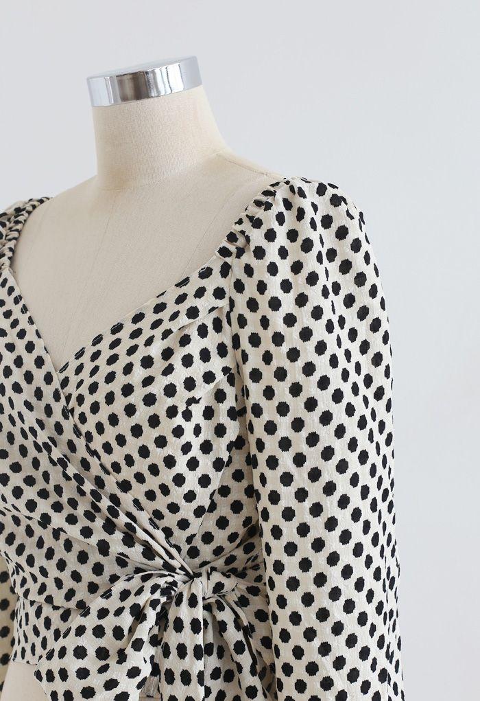 Spotted Tie Waist Wrap Crop Top in Cream
