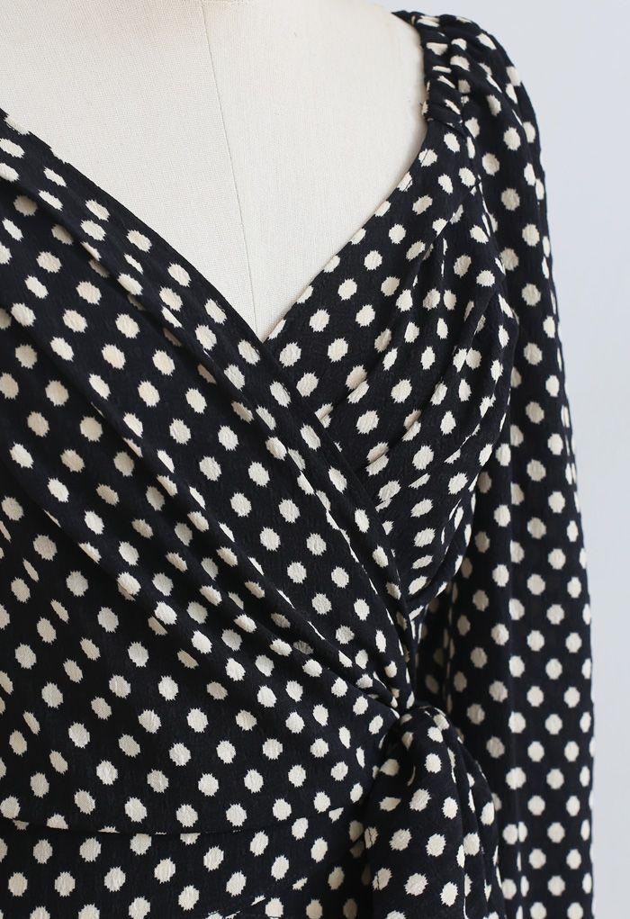 Spotted Tie Waist Wrap Crop Top in Black