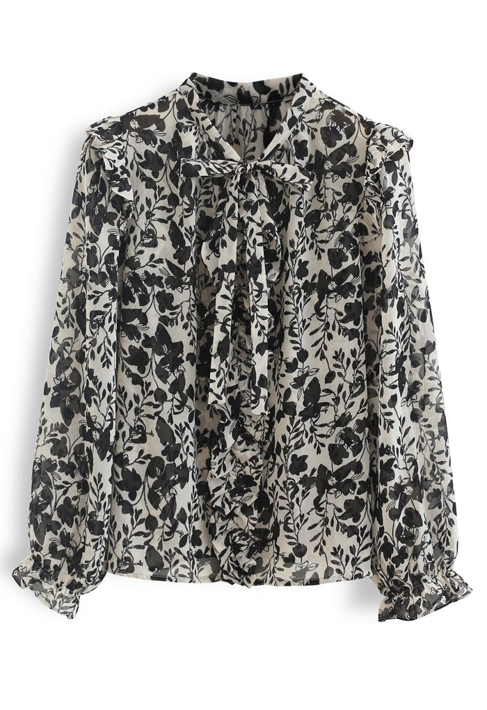 Branch Printed Tie Neck Pleats Top in Ivory
